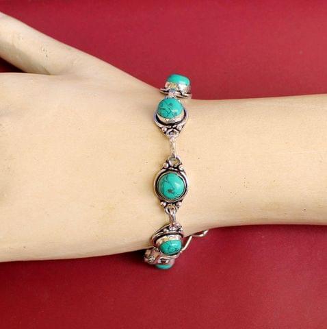 German Silver Stone Beaded Trendy Bracelets Turquoise