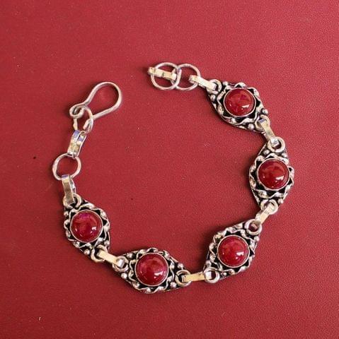 German Silver Stone Beaded Trendy Bracelets Maroon