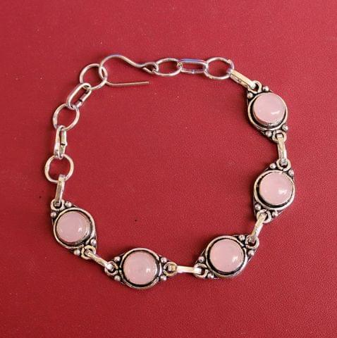 German Silver Stone Beaded Trendy Bracelets Pink
