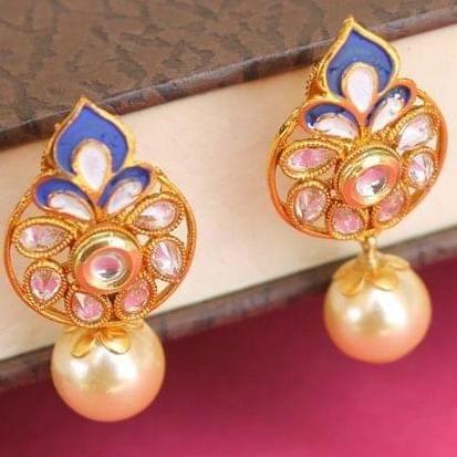 Designer Kundan Meena Pearl Earrings