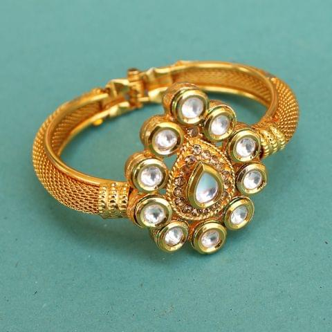 Gold Plated Kundan Open Kada