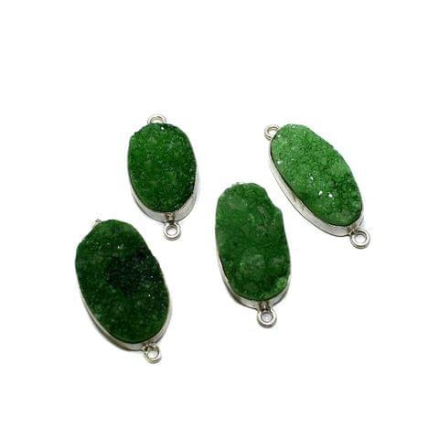 4 Pc German Silver Druzy Stone Pendant Green