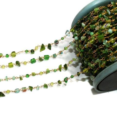 1 Mtr Glass Chips Beaded Chain Multicolor