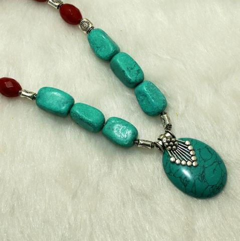 Designer Handmade Beaded Necklace Set Red And Turquoise