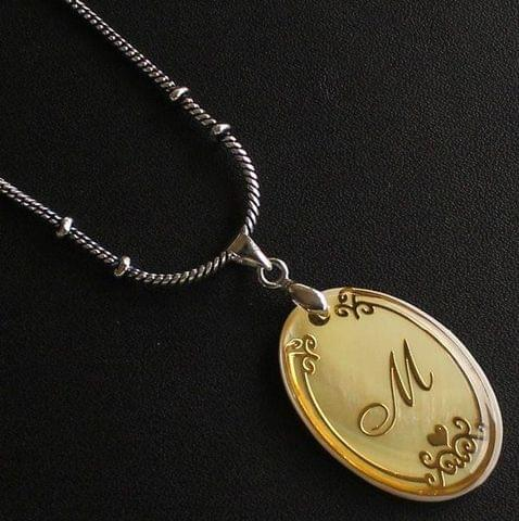 German Silver Chain With Alphabet 'M' Shell Pendants