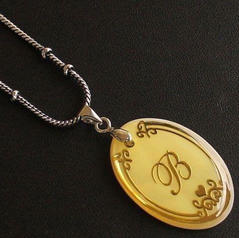 German Silver Chain With Alphabet 'B' Shell Pendants