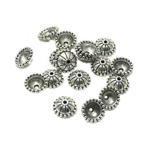 50 Pcs German Silver 10x4mm Beads Caps Silver