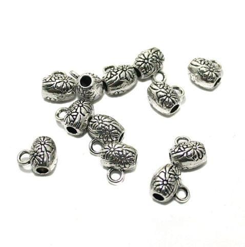 20 Pcs German Silver 10x8mm Charms Silver