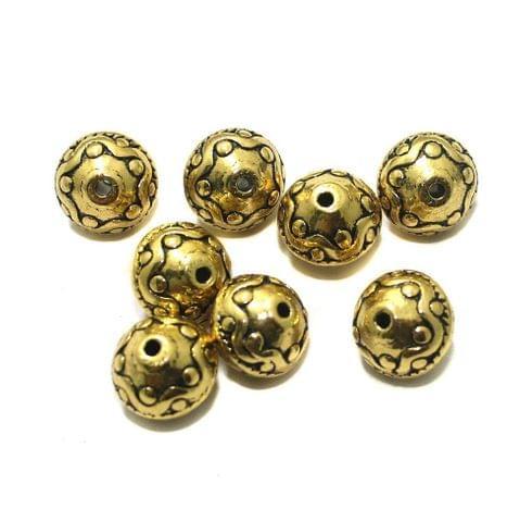20 Pcs German Silver 10x11mm Beads Golden