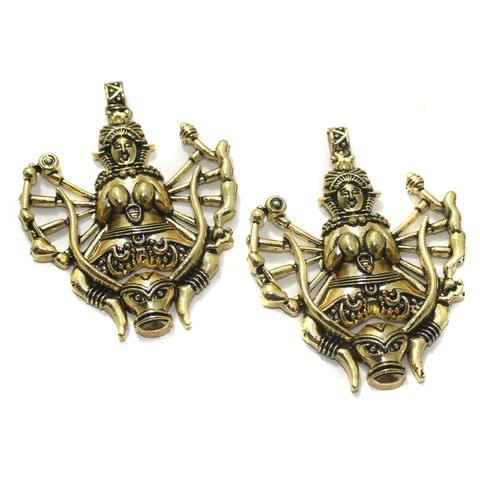 2 Pcs German Silver 70x53mm Pendants Golden