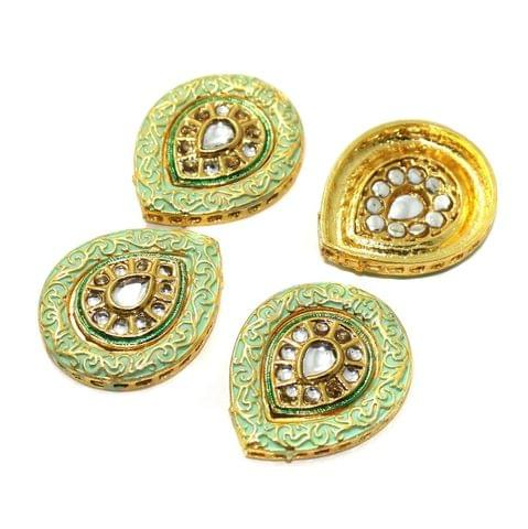 4 Pcs Kundan Connectors 36x30mm Golden