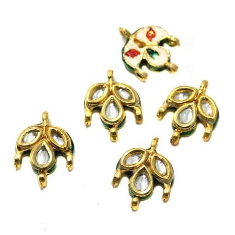 10 Pcs Kundan Connectors 22x16mm Golden