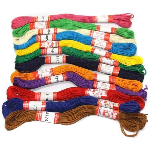 12 Multicolor cotton Threads Combo 0.45mm
