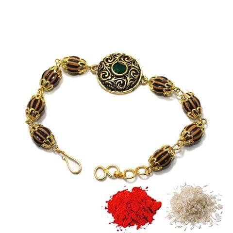 Gold Plated Kundan Bracelet Rakhi 1Pc