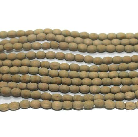 5 Strings Raw Wooden Oval Beads 6x4mm