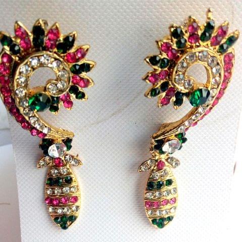 Earrings-Pink Green