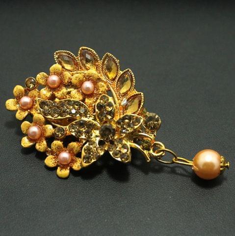 Gold Plated Stone Saree Pin