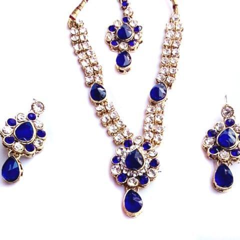 Blue White Stone Set Earrings Mangtikka Copper