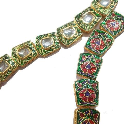 1 String of Kundan Kadi Green 18x20 mm