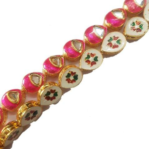 1 String of Kundan Kadi Drop Pink 12x15 mm