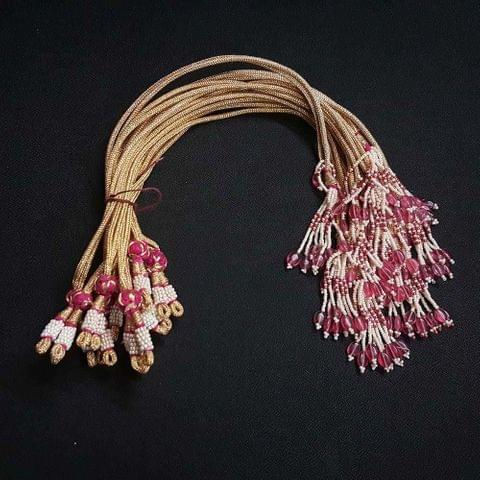 1 Dozen, 12 Inch Pink Colour Necklace Dori (Sarafa)