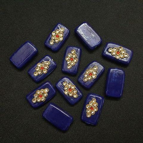 Dark Blue Rectangle Kundan Beads 25 x 15mm, 20 Pieces