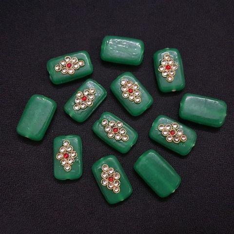 Green, Rectangle Kundan Beads 25 x 15mm, 20 Pieces