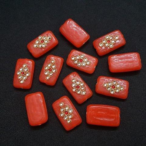 Orange, Rectangle Kundan Beads Orange, Rectangle Kundan Beads 25 x 15mm, 20 Pieces