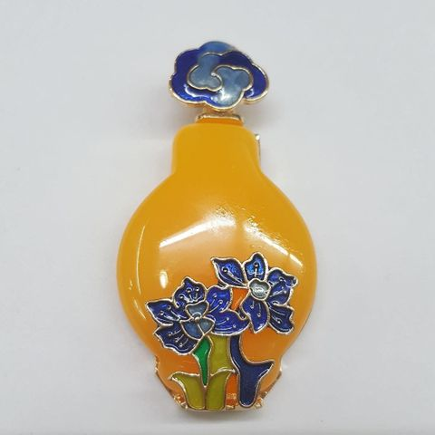 Yellow Colored Pendant With Blue Flower Design