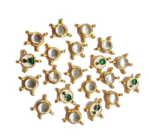 20 pcs, Kundan Beads Golden Spacers, 14x15 mm