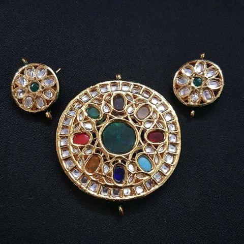 Traditional Round Shape Kundan Pendant With Combo Earring, Pendant- 2.75 inch, Earring- 1.5 inch