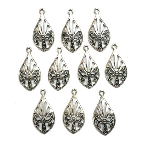 35 pcs, German Silver Charms, 31x16 mm