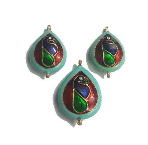 Red, Peacock Design Kundan Meena Pendant Set With Combo Earring
