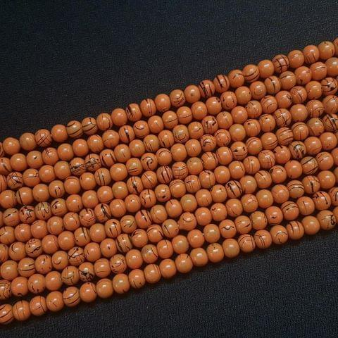 5 Lines, 6 mm Brown Color Glass Beads For Jewellery Making/ 15 Inch/ 63+ Beads in Each String