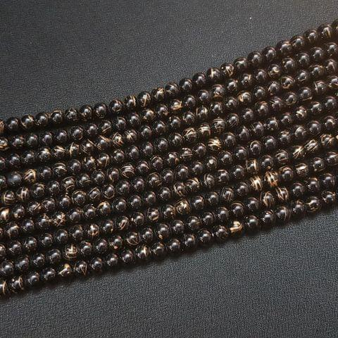 5 Lines, 6 mm Black Color Glass Beads For Jewellery Making/ 15 Inch/ 63+ Beads in Each String