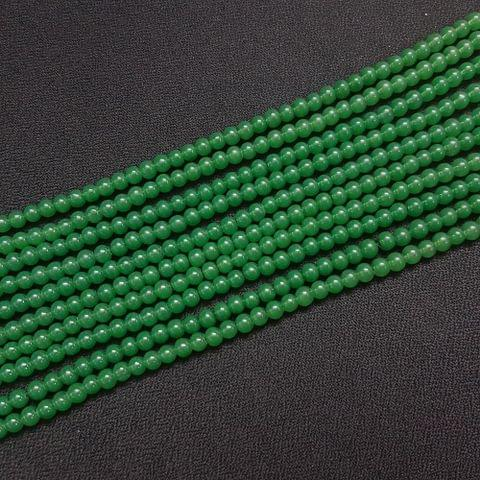 10 Lines, 4 mm Green Color Glass Beads For Jewellery Making/ 16 Inch/ 101+ Beads in Each String