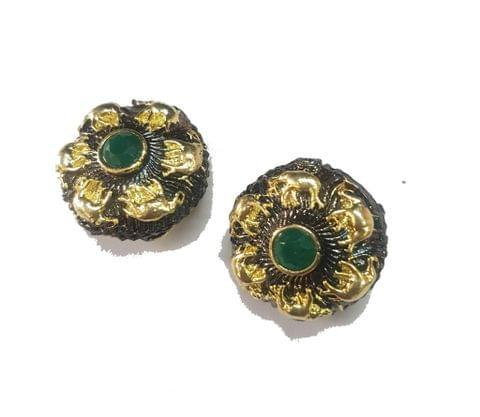 21x21 mm, Green Antique Piece, 1 pair