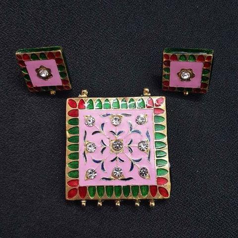 Traditional Pink Meenakari Pendant With Combo Earring, Pendant- 1.75 inch, Earring- 0.75 inch
