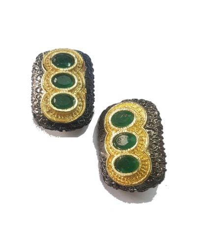 12x24 mm, Green Antique Pieces, 1 pair