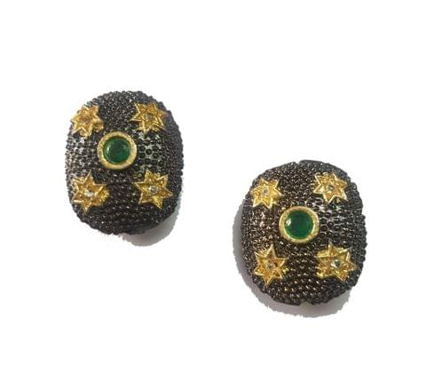 18x22 mm, Green Antique Pieces, 1 pair