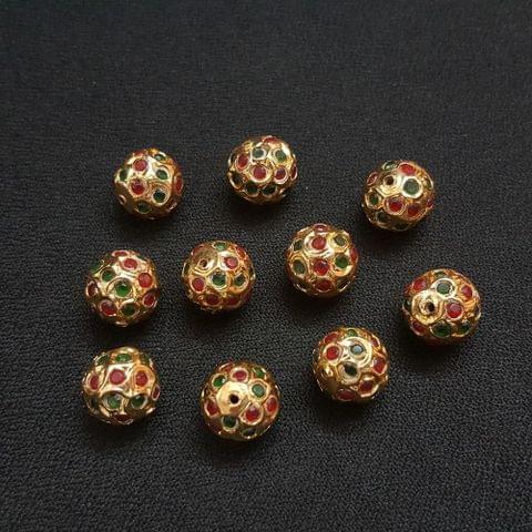 Green Maroon Jadau Ball 12 mm, 10 Pieces