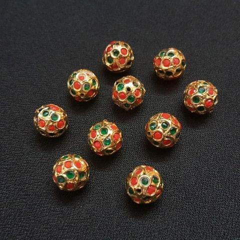 Moonga And Green, Jadau Ball 12 mm, 10 Pieces