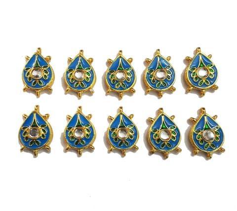 10 pcs Blue Color Pan Shape Spacers 32x20mm