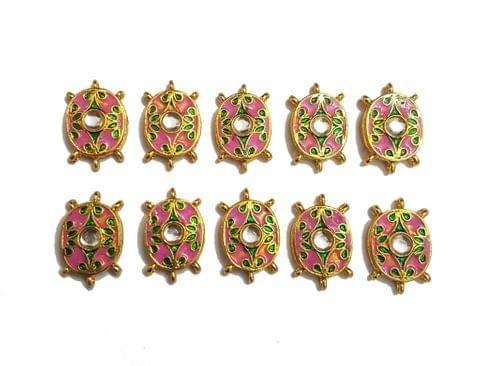 10 pcs Pink Color Oval Shape Spacers 30x19mm
