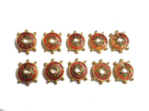 9 pcs Red Orange Color Round Shape Spacers 27x20mm