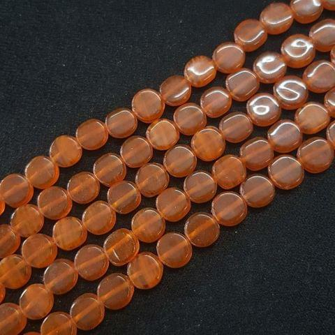 8mm, Orange Flat Round Shape Beads, 4 Strings, 40+ Beads In Each String, 15 Inches