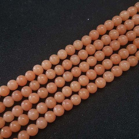 6mm, Brown Round Shape Beads, 4 Strings, 68+ Beads In Each String, 15 Inches