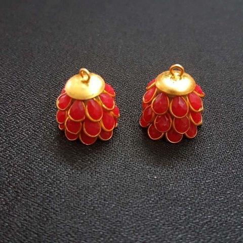 Red, Pacchi Jhumka 16mm, 2 Pair