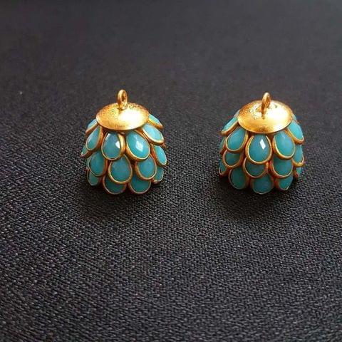 Turquoise, Pacchi Jhumka 16mm, 2 Pair