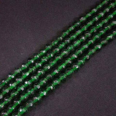 8mm Dark Green Jade Faceted Beads, 2 Strings, 43+ Beads In Each String